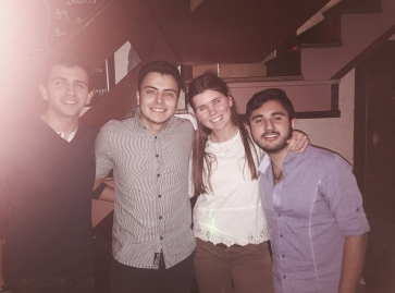 From the left to the right: Renato (Mexican), Daniel (Colobian), Isabelle, Leo (Mexican)