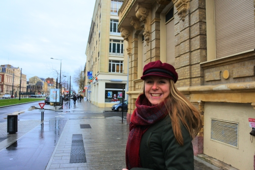 Meggie with her new cap in Le Havre